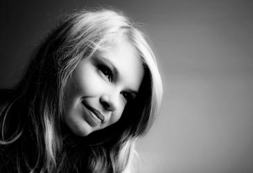 Girl on Grey Backdrop in Studio